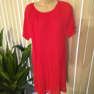 Michael Kors Pleated Dress Coral Size Medium
